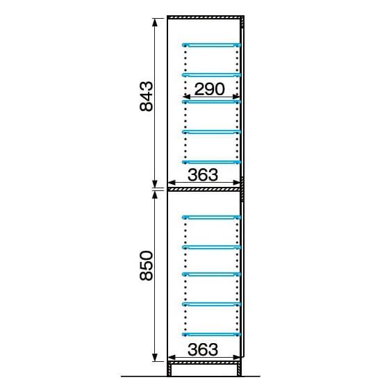 インテリアに合わせて8色&13タイプから選べるシューズボックス 扉 幅45高さ180.5cm(左開き) 詳細図(単位:mm)
