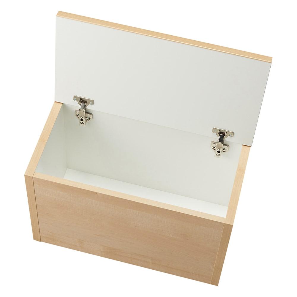 耐荷重100kg!収納庫付ベンチ ボックス・幅60奥行31cm 収納庫内部は化粧されており、収納物にもやさしいつくり。