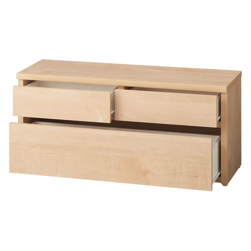 耐荷重100kg!収納庫付ベンチ 引き出し・幅90奥行31cm (ア)ナチュラル 収納庫内部は化粧されており、収納物にもやさしいつくり。
