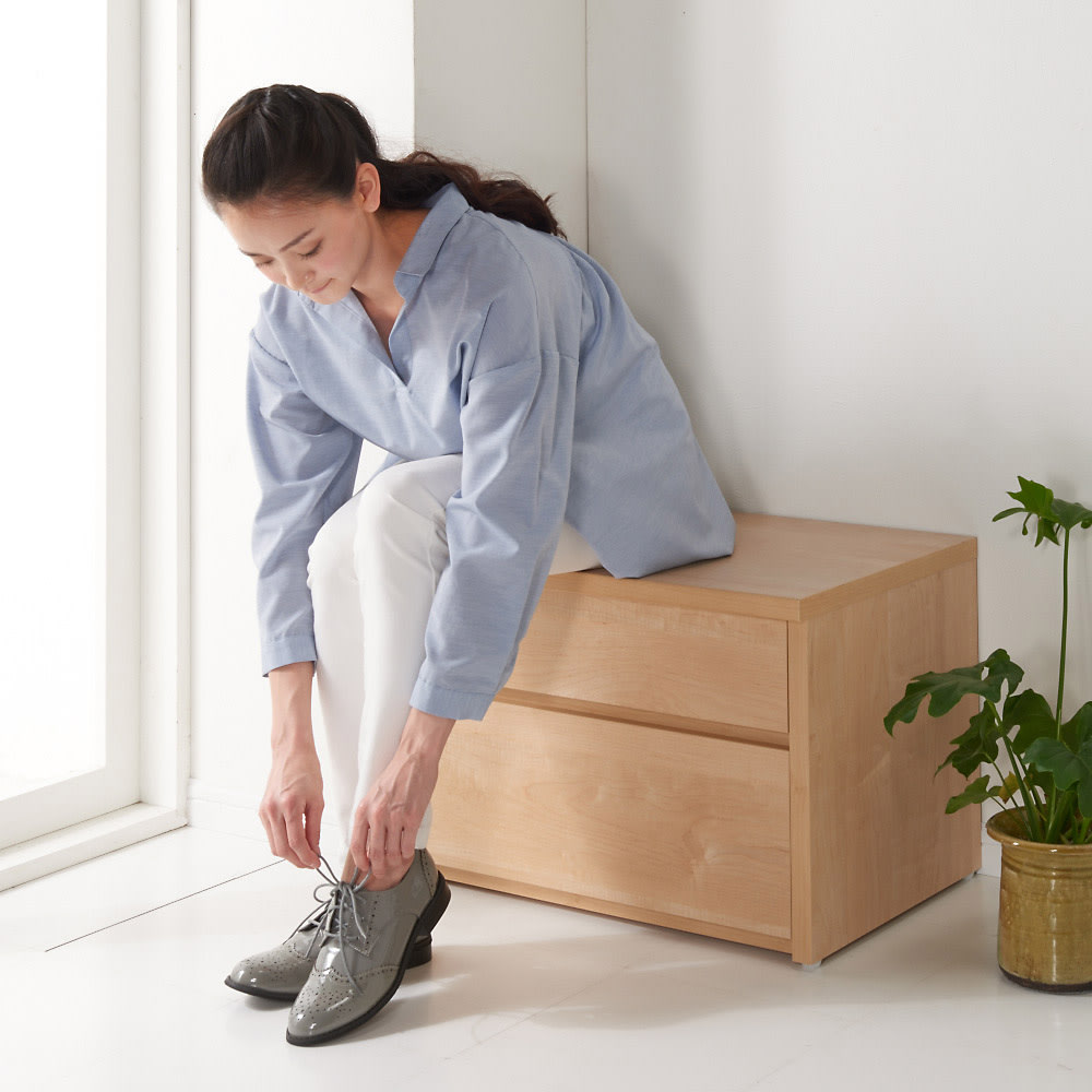 耐荷重100kg!収納庫付ベンチ 引き出し・幅90奥行41cm 座部高さ41cm。靴の着脱もしやすい高さです。 (ア)ナチュラル