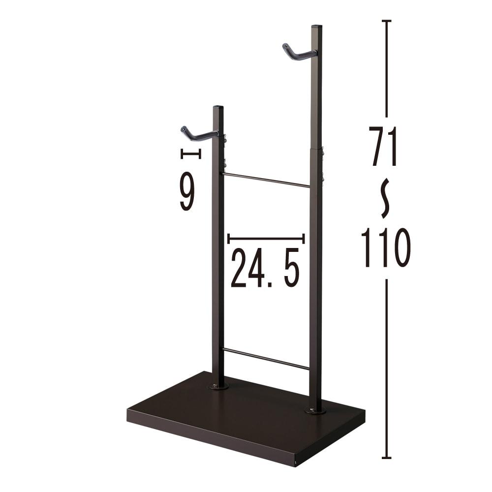 室内で使える ディスプレイサイクルスタンド 1台掛け (ウ)ダークブラウン(単位:cm)