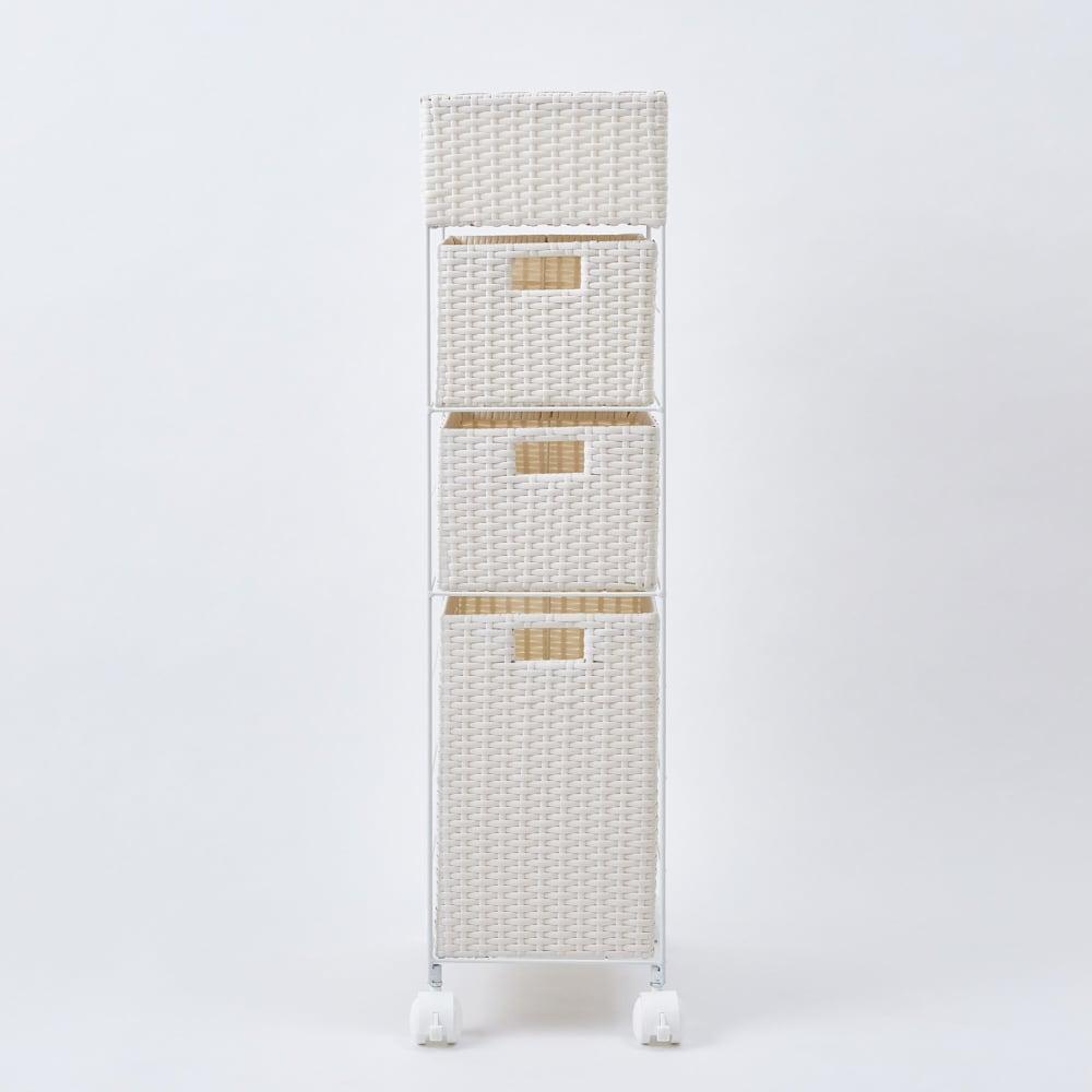 ラタン風ランドリーチェスト すき間トール4段(幅25・奥行40・高さ100cm) (イ)ホワイト 正面