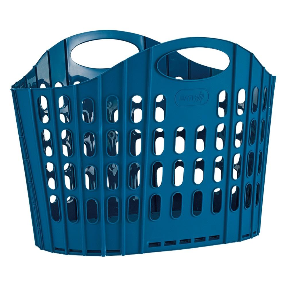 折りたたみバスケット2個セット (イ)ブルー