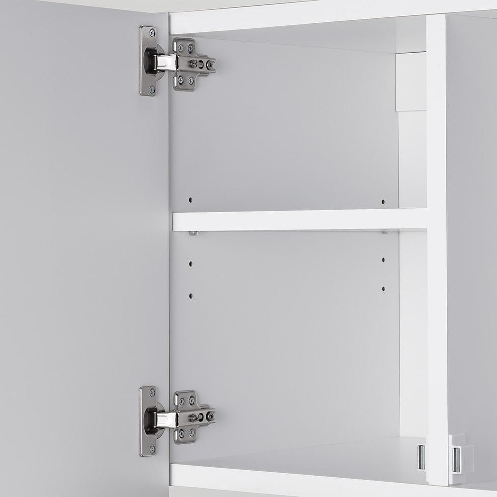 幅サイズを1cm単位で選んでぴったり!洗濯機上壁付け収納庫 幅71~80cm 可動棚は3cm間隔・4段階に調節可能。