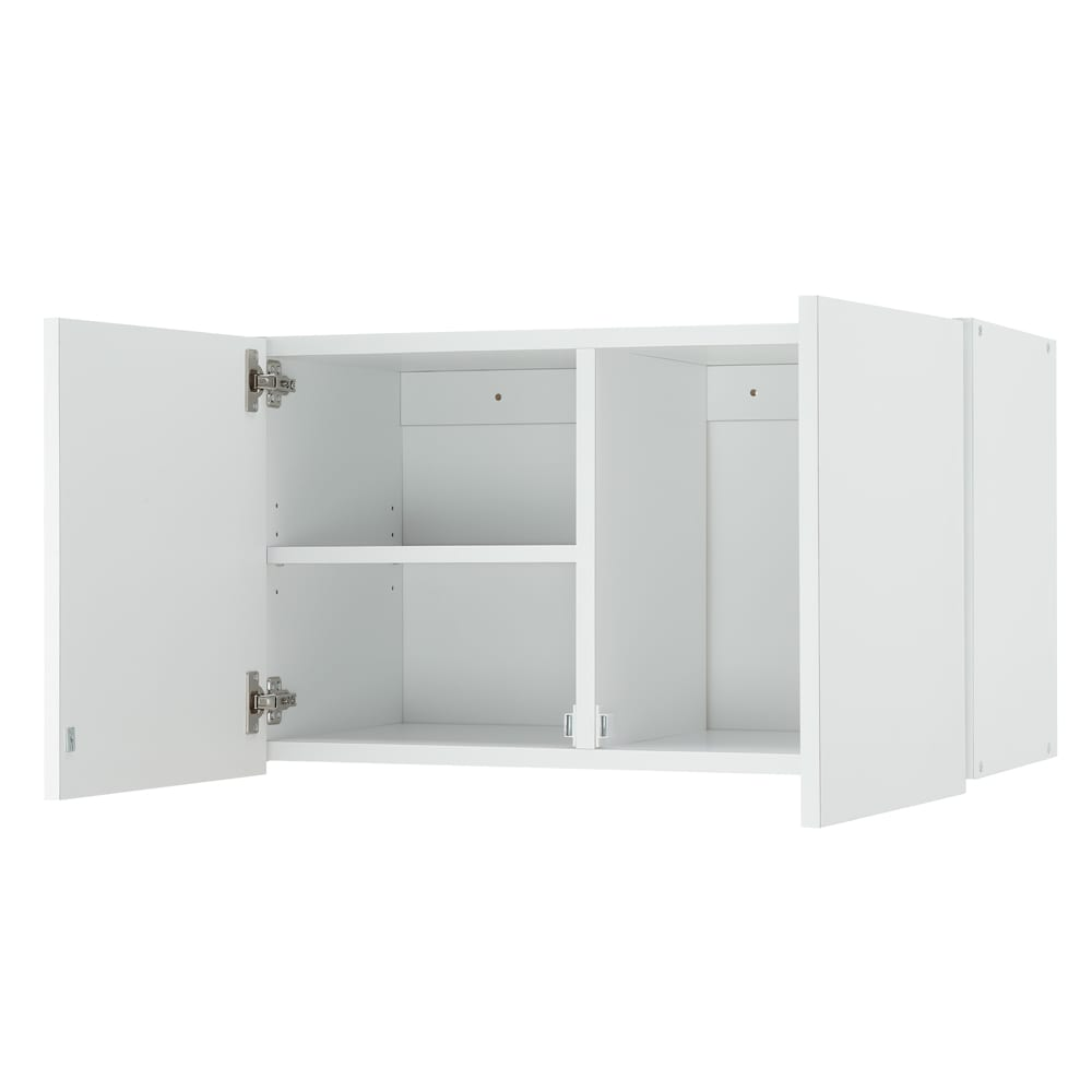 幅サイズを1cm単位で選んでぴったり!洗濯機上壁付け収納庫 幅71~80cm 可動棚1枚付きで、効率のよい収納ができます。