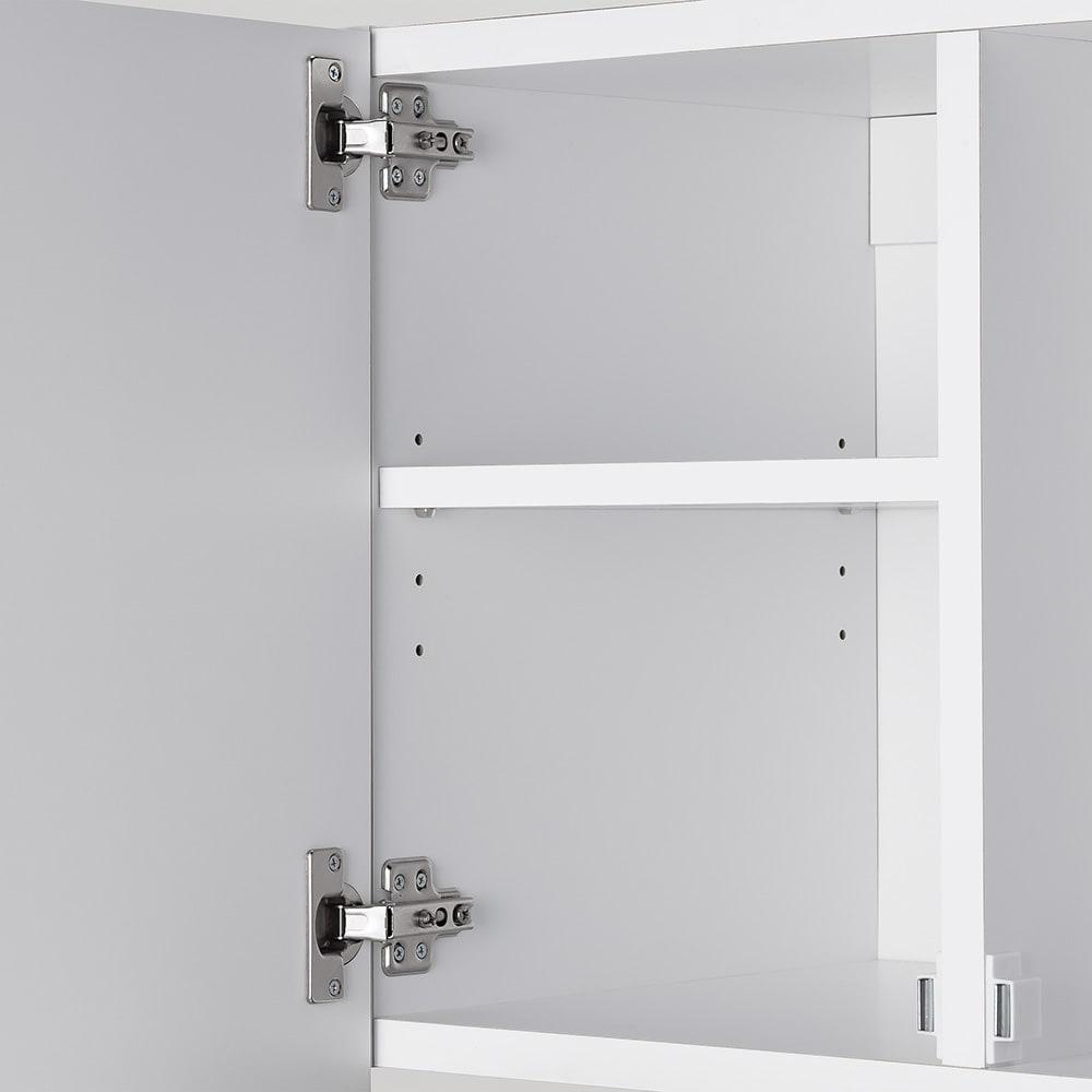 幅サイズを1cm単位で選んでぴったり!洗濯機上壁付け収納庫 ハンガーバー付き 幅71~80cm 可動棚は3cm間隔・4段階に調節可能。
