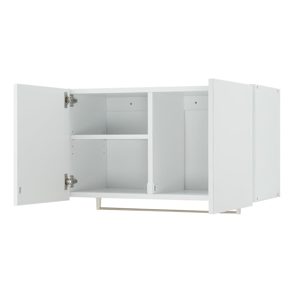 幅サイズを1cm単位で選んでぴったり!洗濯機上壁付け収納庫 ハンガーバー付き 幅71~80cm 可動棚1枚付きで、効率のよい収納ができます。ハンガーバーは洗濯物の一時掛けやタオル干しに便利。