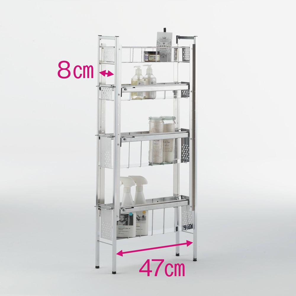 ステンレス洗濯機サイドラック 4段 幅14.5cm高さ103.2cm 2・3段目は高さが4段階に調節可能です。 ※赤文字は内寸