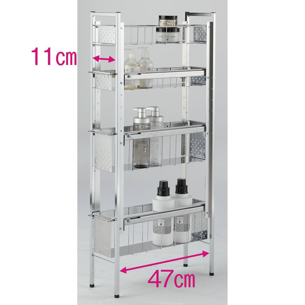 ステンレス洗濯機サイドラック 4段 幅17.5cm高さ103.2cm 2・3段目は高さが4段階に調節可能です。 ※赤文字は内寸