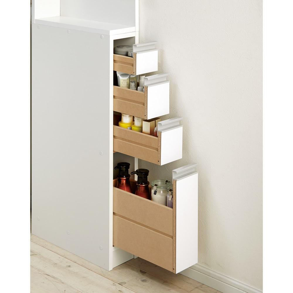 取り出しやすい2面オープンすき間収納庫 奥行44.5cm・幅15cm 引き出しはコスメ類や小物の収納に便利。