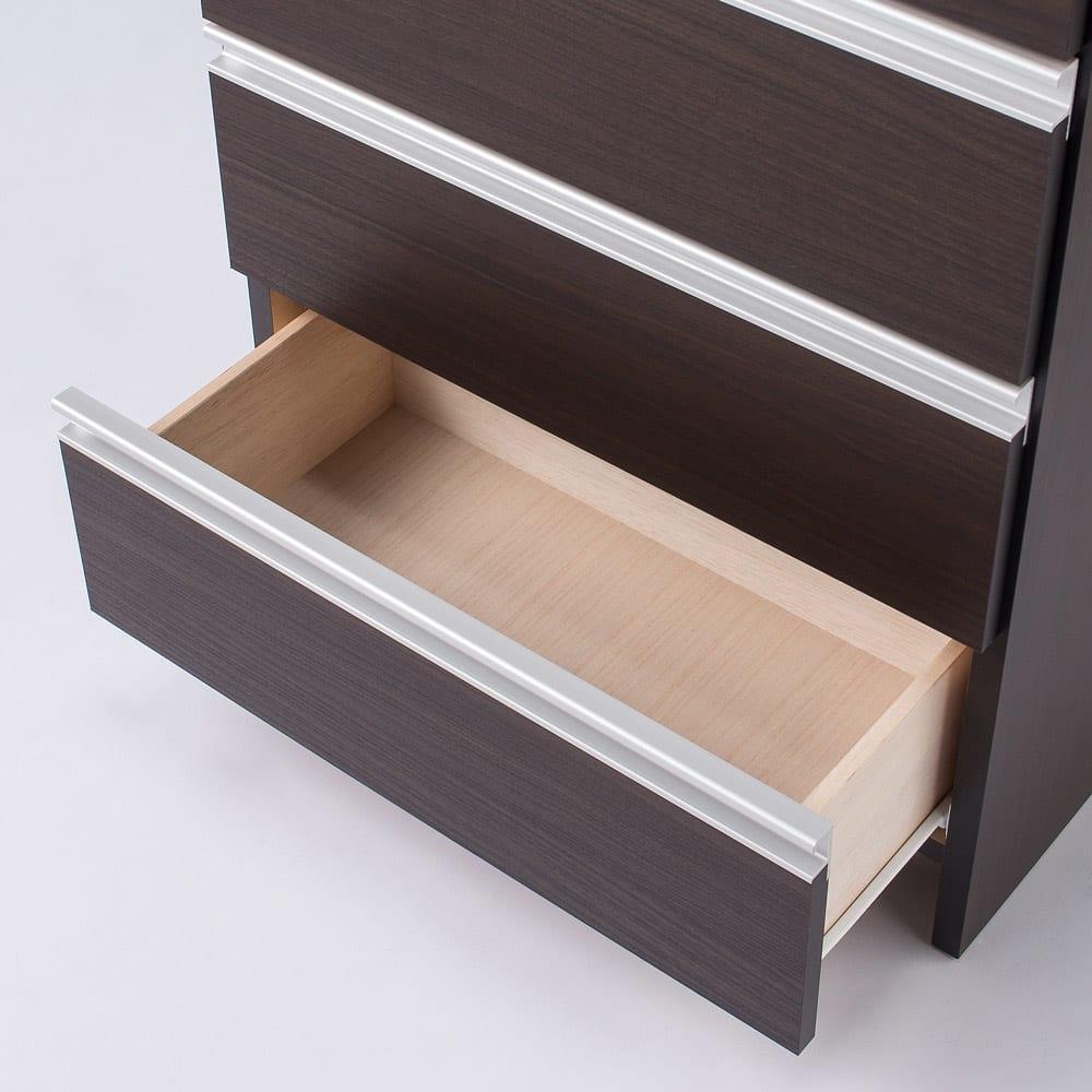 組立不要 水や汚れに強いステンレス天板 サニタリーチェスト 幅60cm・奥行32cm タオル収納や洗面化粧台まわりの小物収納。衣類チェストとしても使いやすいフラットな内部構造。 ダークブラウン色。