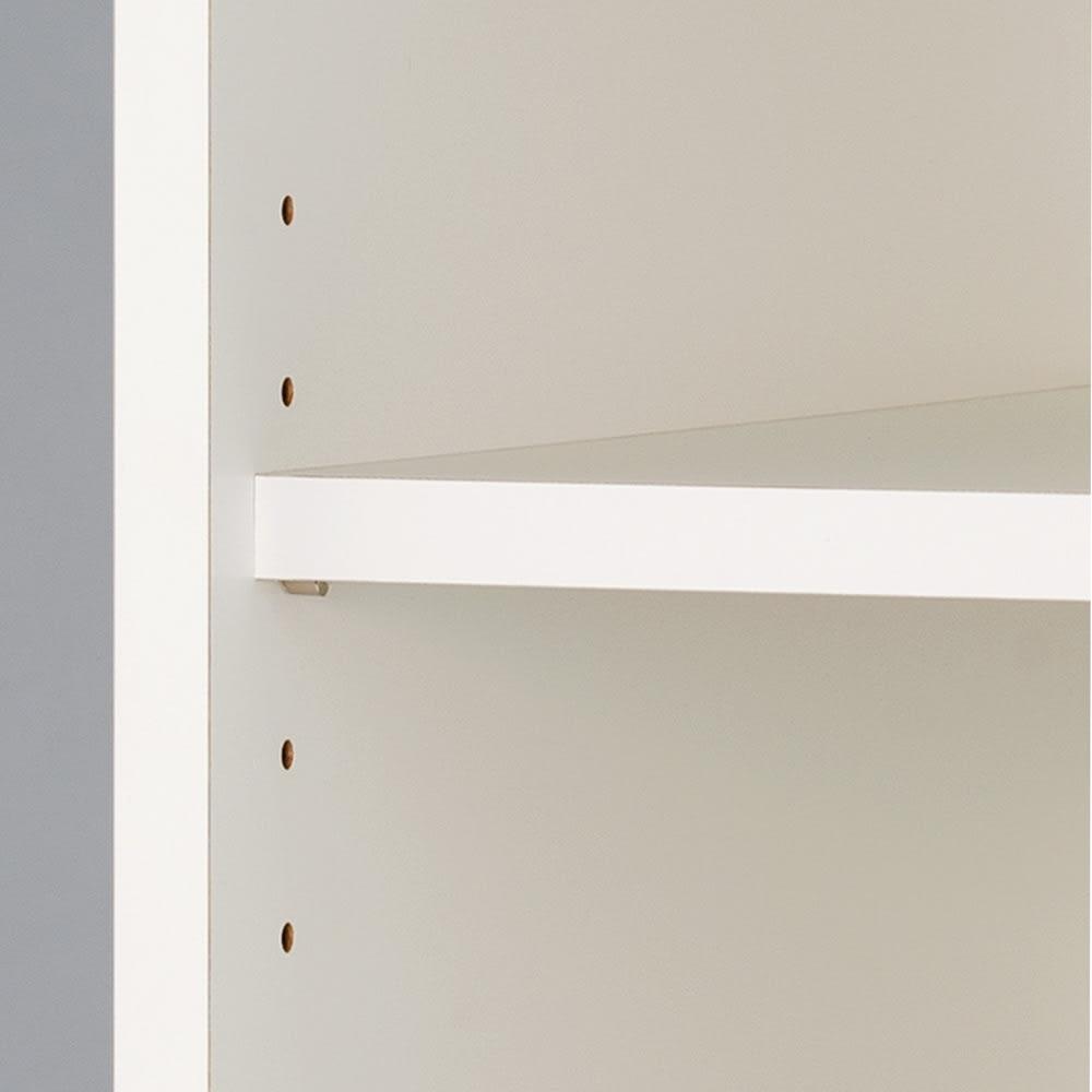 組立不要 スペースに合わせて奥行が選べるサニタリーチェスト 幅75奥行41cm 棚板は3cm間隔で高さ調節が可能。