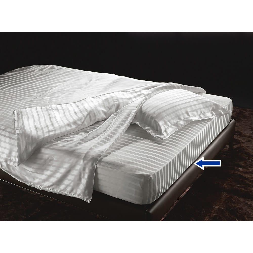オールシルクシリーズ サテン織りシーツ&カバー ベッドシーツ シングルサイズ ※シリーズコーディネート例。お届けはベッドシーツのみです