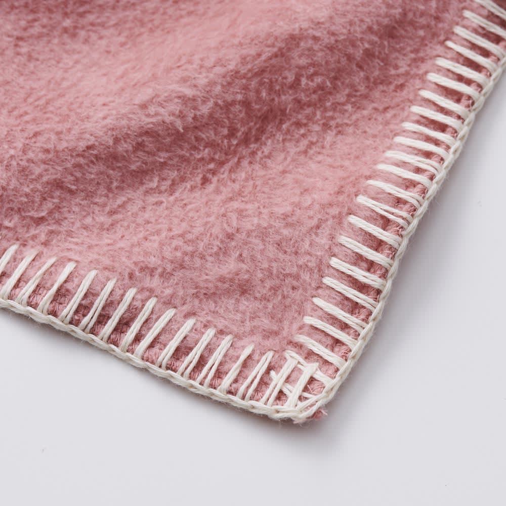 【毛布の老舗 三井毛織】超長綿×ウール プレミアム毛布 掛け毛布 ブランケットステッチまで超長綿にこだわりました。優しいアイボリーがアクセントに。(ウ)ローズピンク