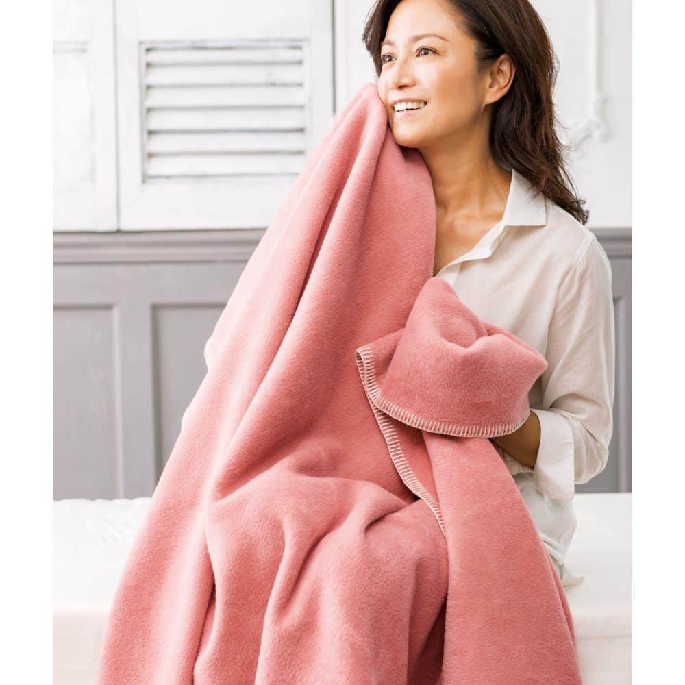 【毛布の老舗 三井毛織】超長綿×ウール プレミアム毛布 掛け毛布 (ウ)ローズピンク