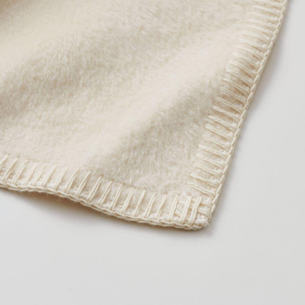 【毛布の老舗 三井毛織】超長綿×ウール プレミアム毛布 掛け毛布 ブランケットステッチまで超長綿にこだわりました。優しいアイボリーがアクセントに。(ア)アイボリー