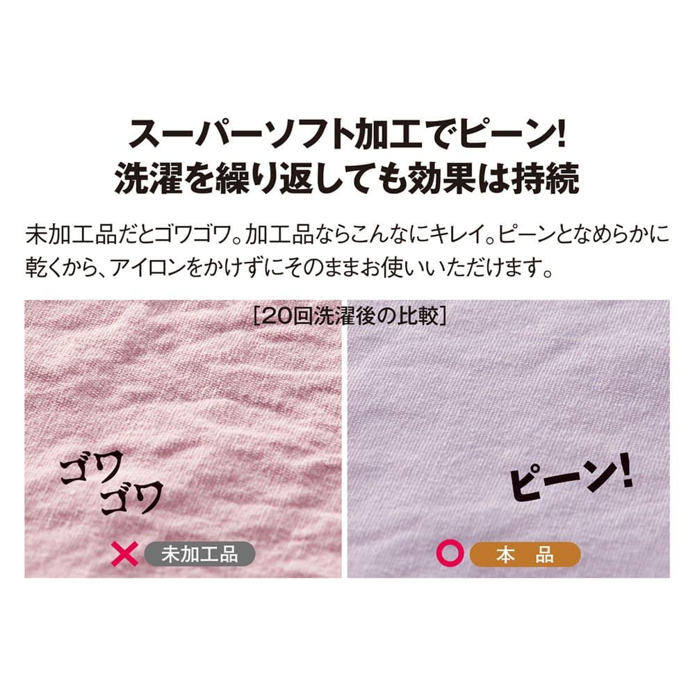 スーパーソフト加工 掛け布団カバー 【加工品と未加工品の比較】20回洗濯後 洗濯でできるシワの量に差がでます