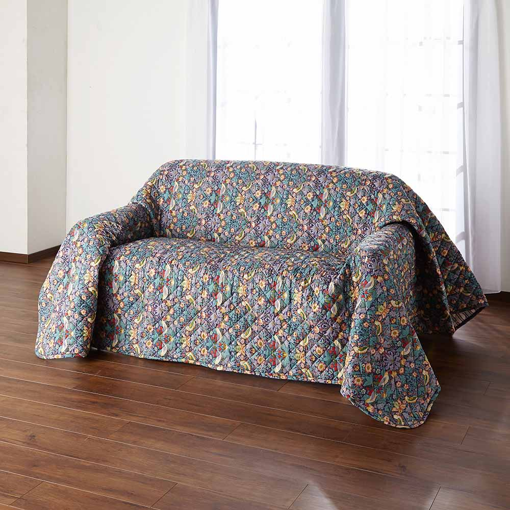 V&A ウィリアム・モリスデザイン いちご泥棒柄 ベッドスプレッド (ア)ネイビー  マルチにソファカバーとしても
