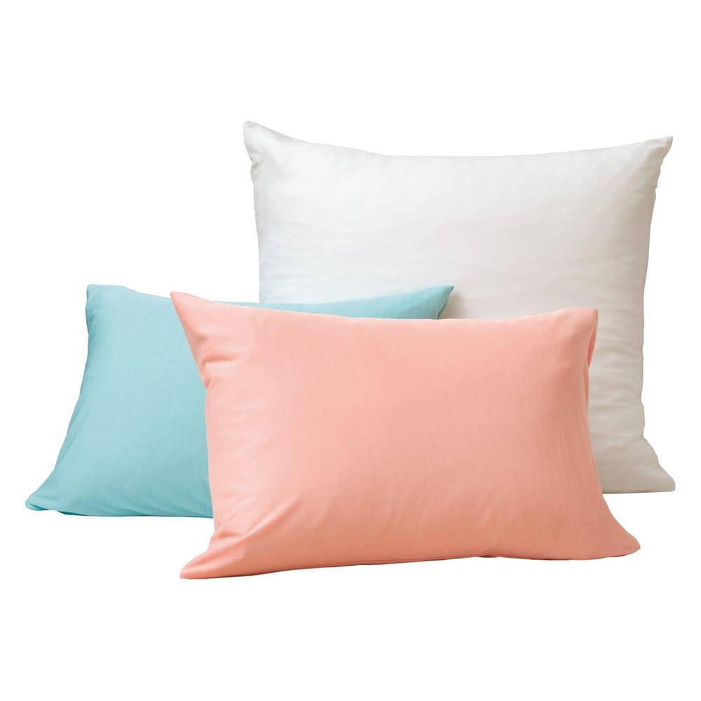 【フォスフレイクス】枕クラシック&ロイヤーレ 枕カバー付き 枕カバー:上から時計回りにホワイト、ピンク、ブルー