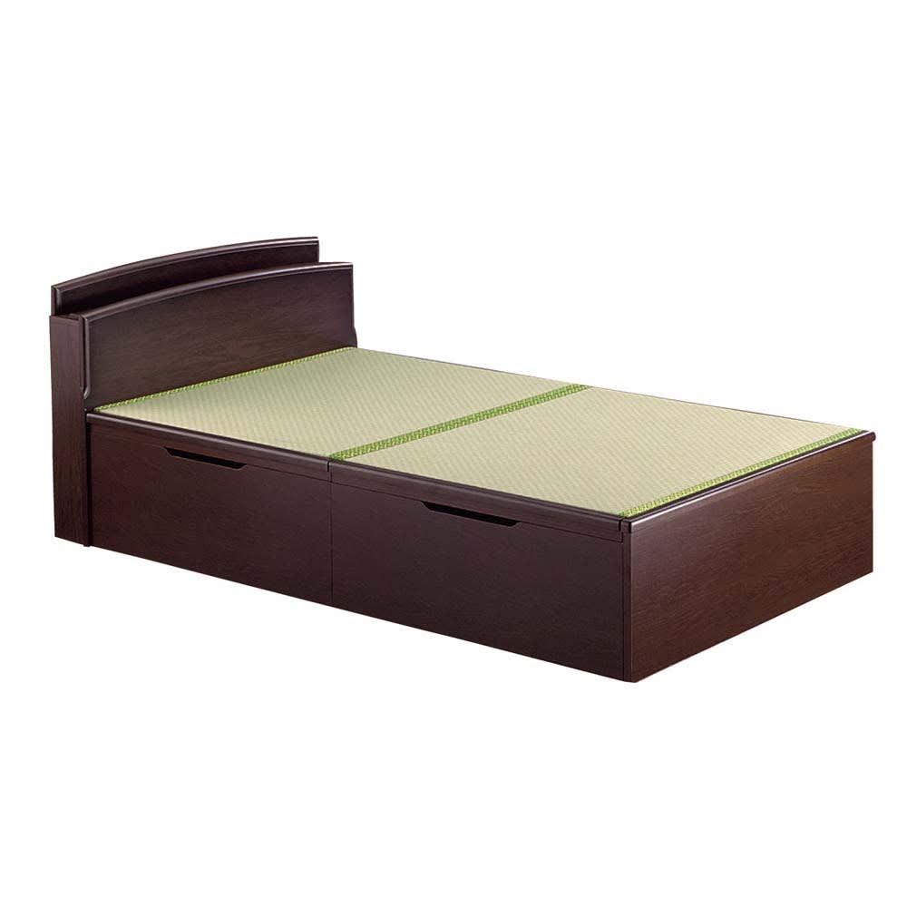 跳ね上げ美草畳収納ベッド ヘッド付き (イ)グリーン 床面高さ41cm内寸深さ32.5cm
