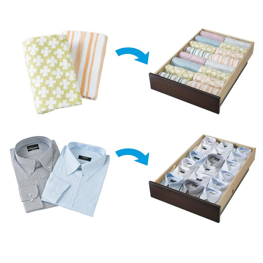 布団が使える洋服たんすベッド ヘッドなし(高さ41cm) たっぷりしまえて、探しやすい 浅引き出し1杯にフェイスタオルなら約16枚、Yシャツなら約18枚収納。洋服たんすとしても大満足の収納力です。