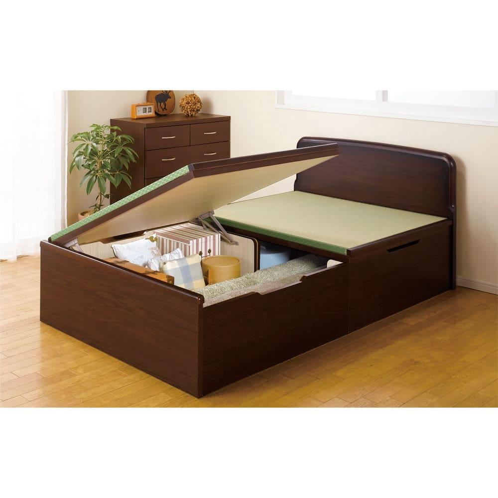 絨毯のような長いモノも収納できる!跳ね上げ式収納畳ベッド ヘッド付き(高さ80・床面まで41cm) ※写真はセミダブルです。