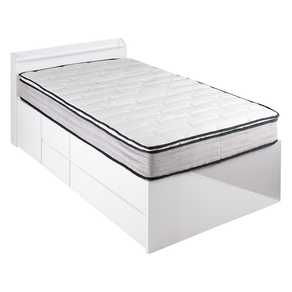 光沢が美しい収納チェストベッド ベッドフレームのみ (ア)ホワイト ※写真はセミダブルタイプです。お届けはフレームのみとなります。