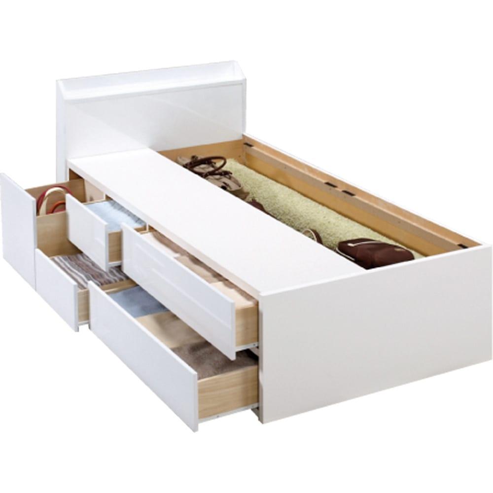 光沢が美しい収納チェストベッド ベッドフレームのみ 床板取り外し時 (ア)ホワイト ※写真はシングルタイプです。