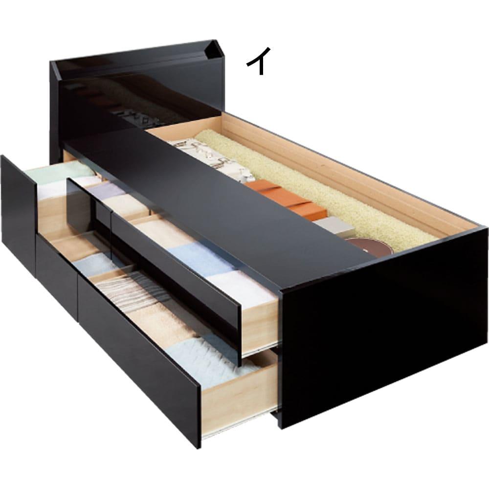 光沢が美しい収納チェストベッド ベッドフレームのみ ※写真はダブルタイプです。