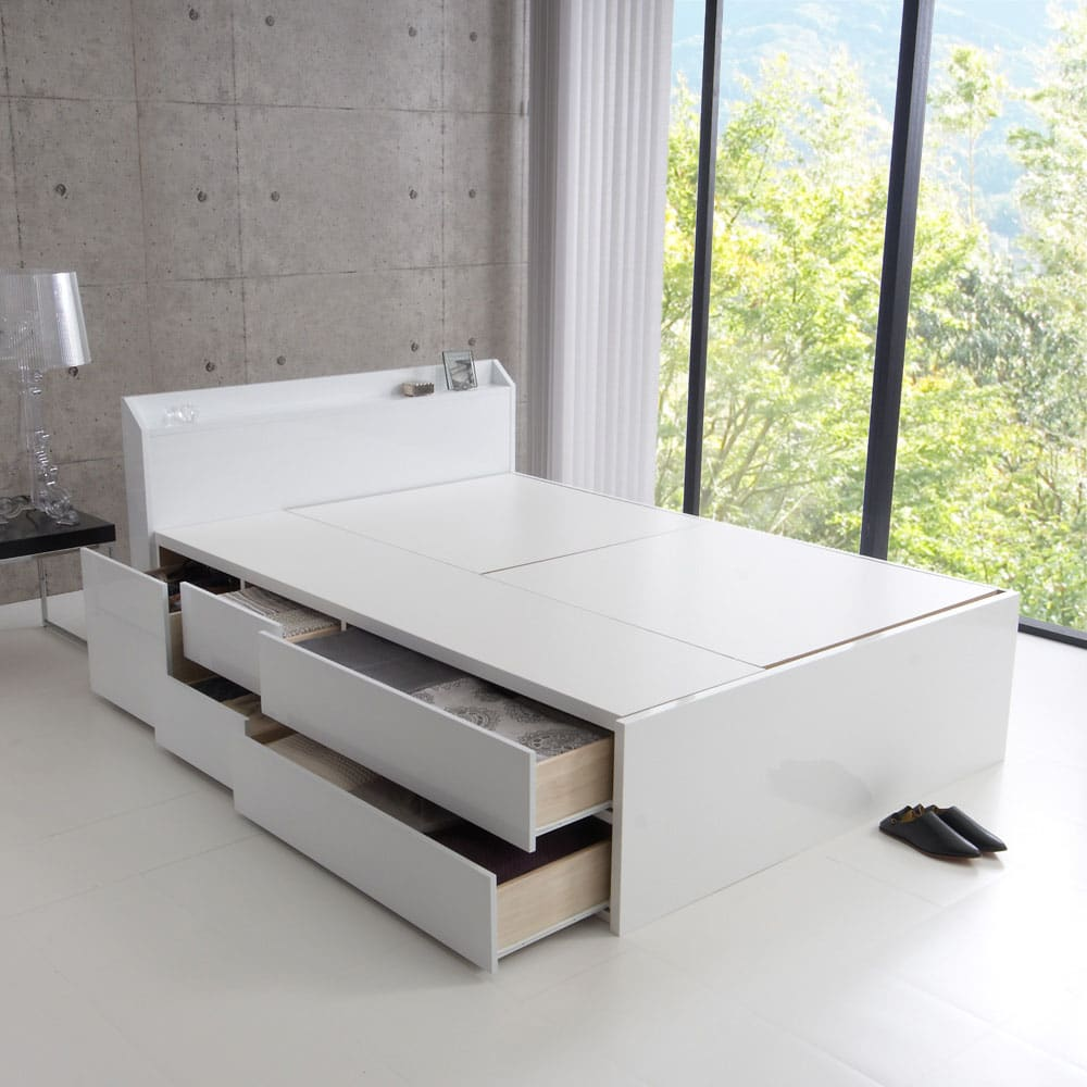 光沢が美しい収納チェストベッド ベッドフレームのみ (ア)ホワイト ※写真はダブルサイズです。