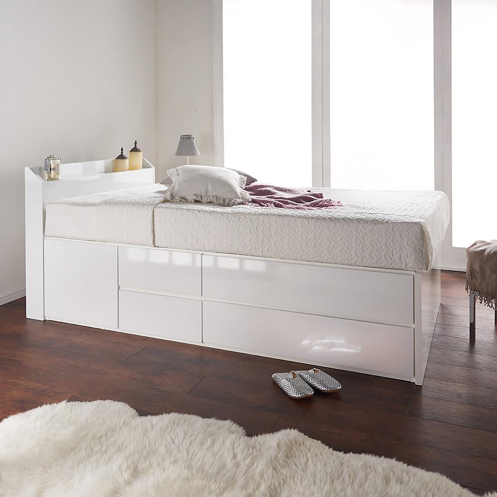 光沢が美しい収納チェストベッド ベッドフレームのみ (ア)ホワイト ※写真はセミダブルサイズです。お届けはフレームのみとなります。