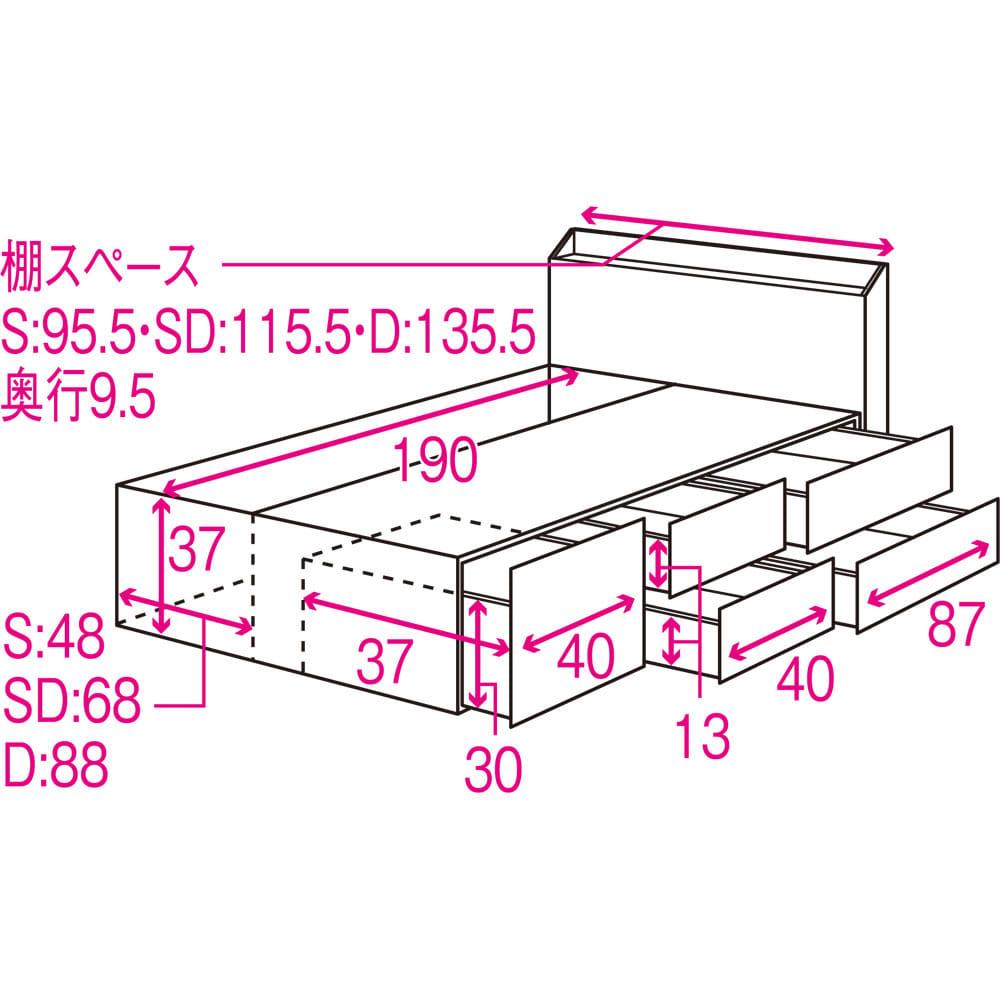 光沢が美しい収納チェストベッド ポケットコイルマットレス(厚さ19cm)付き 詳細内寸図(単位cm)