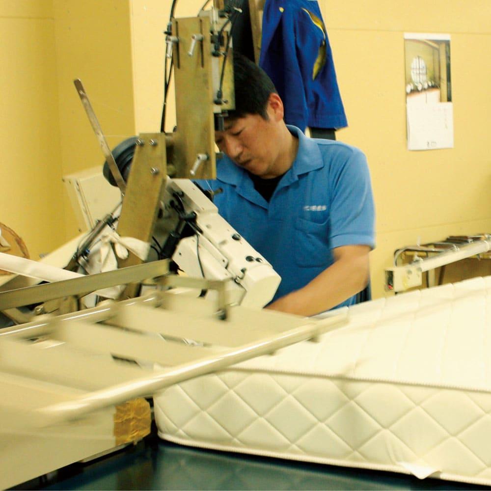 国産抗菌マットレス ボンネルスプリングマットレス 国内工場で一貫生産。職人歴30年以上のベテランをはじめ、腕に覚えのあるスタッフが一つ一つ心を込めて仕上げています。