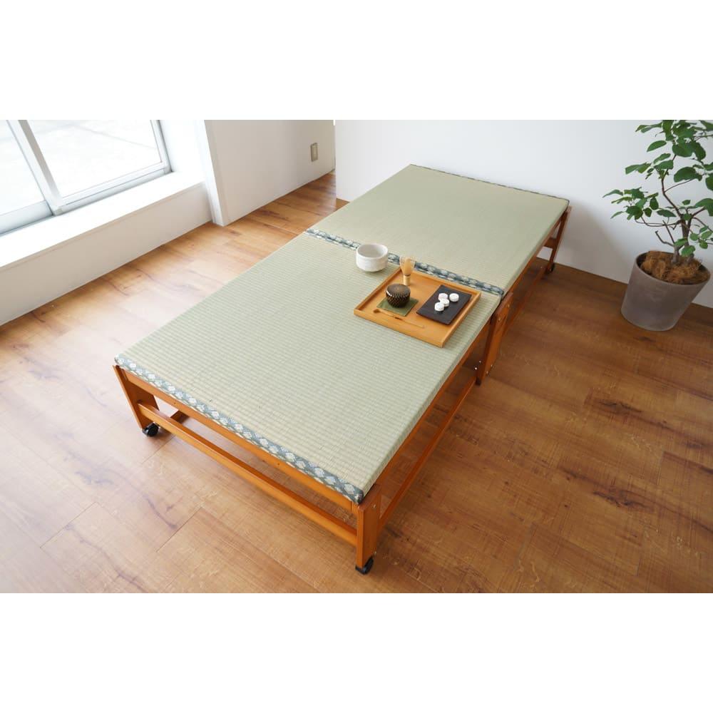 畳空間を簡単に演出できる折りたたみベッド ハイタイプ(棚なし) 別アングルのイメージ