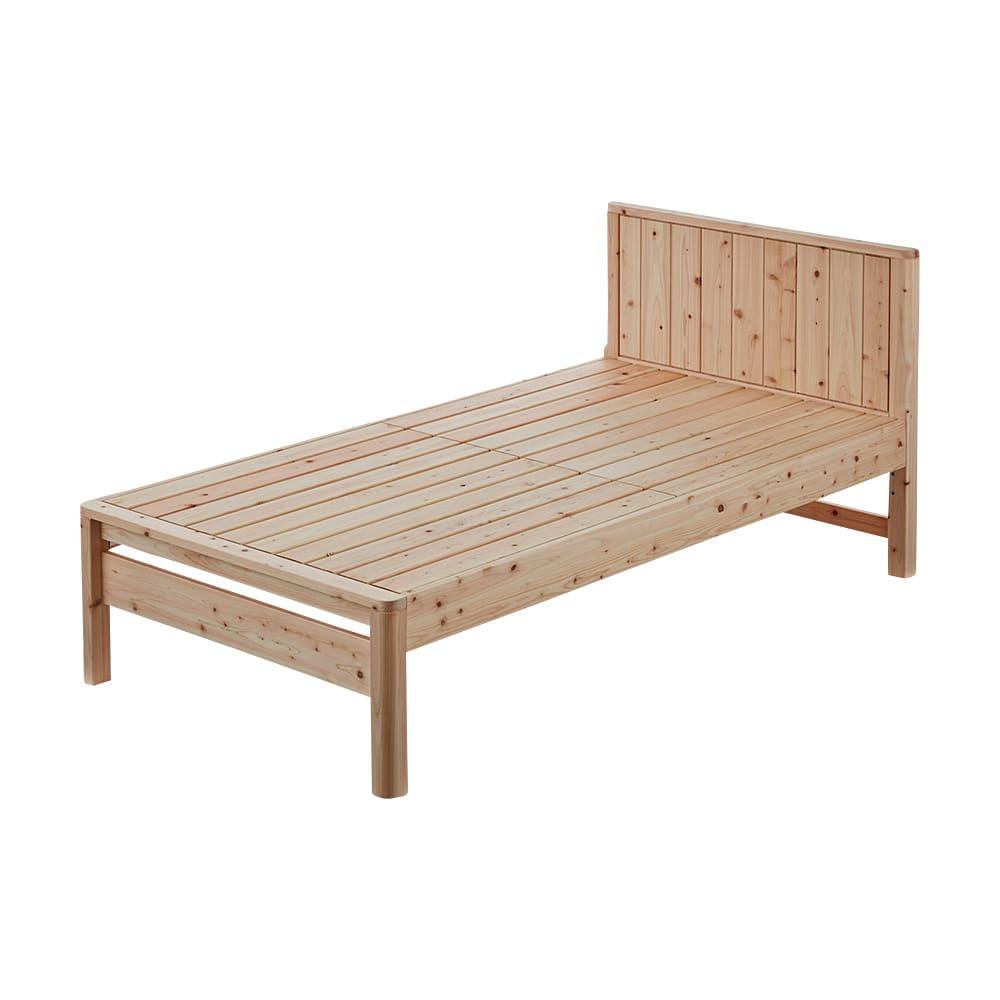 ガード付き檜パネルボードベッド ショート ※写真はシングルショートです。お届けは布団ガード付きです。
