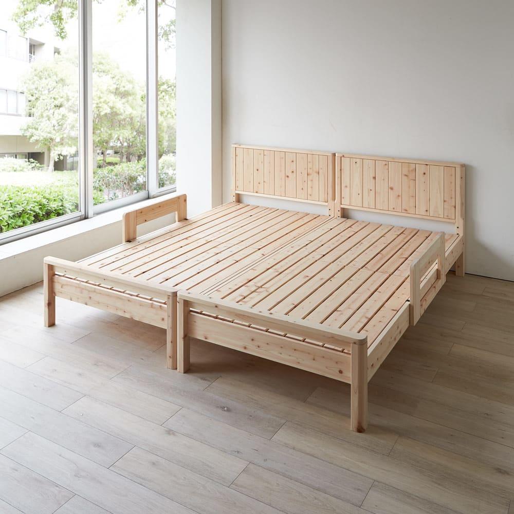 ガード付き檜パネルボードベッド ショート ※写真はシングルを2台並べて使用しています。