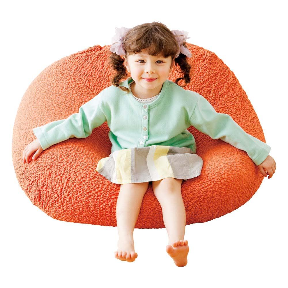 イタリア製フィットカバー[ブックレ] オットマンカバー小 ビーズクッションにも使えます。 (コ)オレンジ