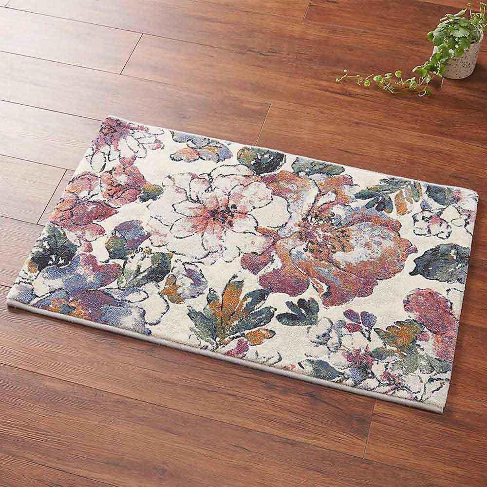ベルギー製ウィルトン織りマット〈フィデリオ〉 (ア)ピンク系・約60×90cm