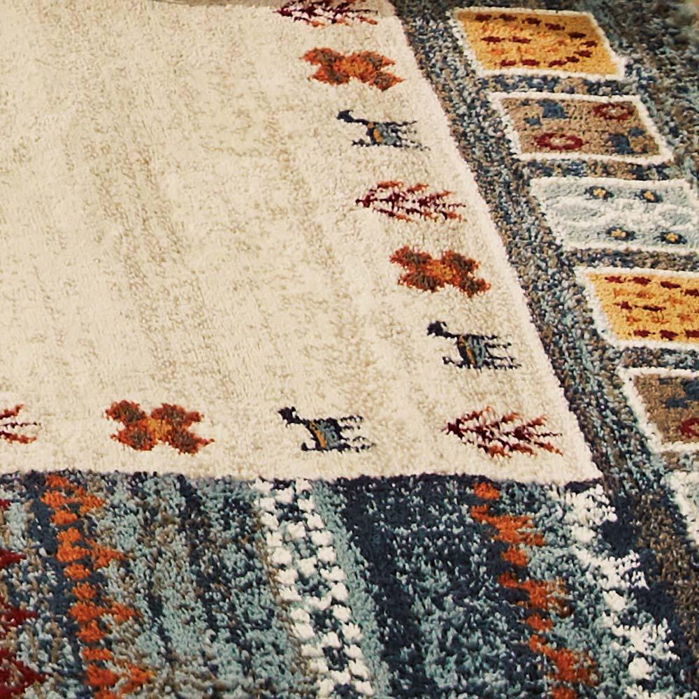 エジプト製ウィルトン織りラグ〈ラピス〉 (ア)ブルー系