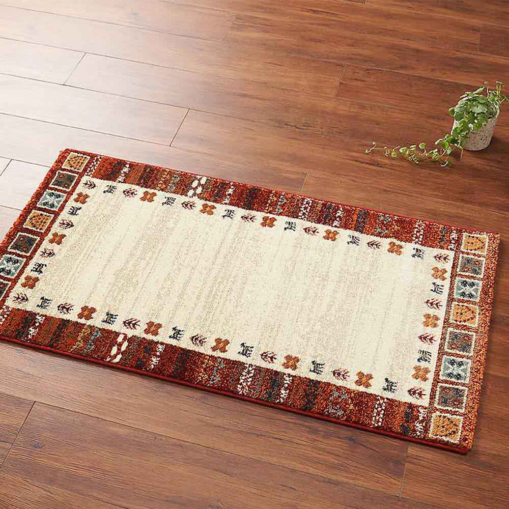 エジプト製ウィルトン織りマット〈ラピス〉 (イ)レッド系