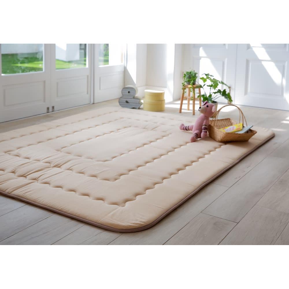 インド綿平織ふっくらボリュームラグ ラグ (ア)ベージュ・約190×240cm