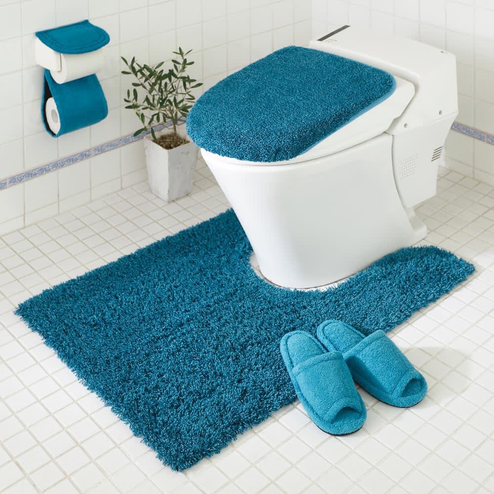 PLYS(プリス)乾度良好トイレタリー フタカバー(洗浄暖房器用) コーディネート例(ウ)ブルー系 ※お届けはフタカバーです。
