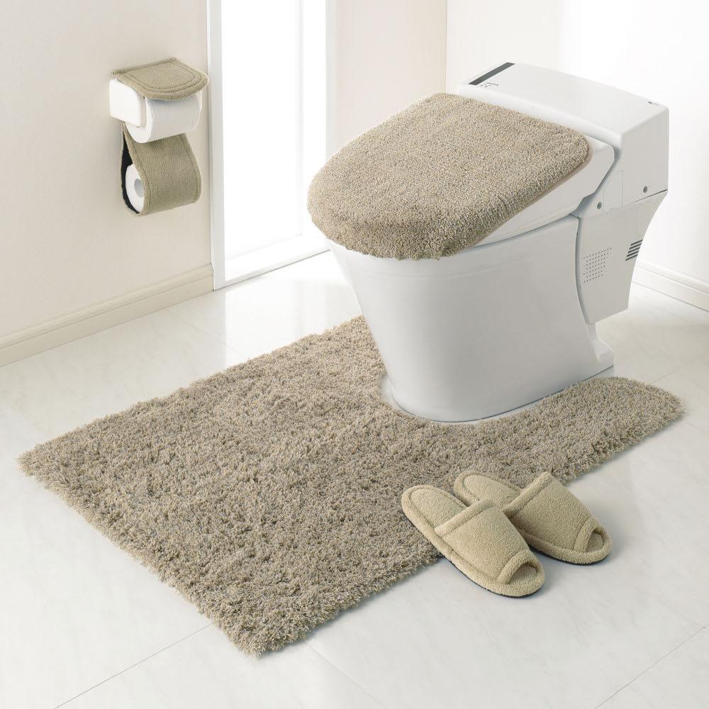 PLYS(プリス)乾度良好トイレタリー フタカバー(洗浄暖房器用) コーディネート例(ア)ベージュ系 ※お届けはフタカバーです。