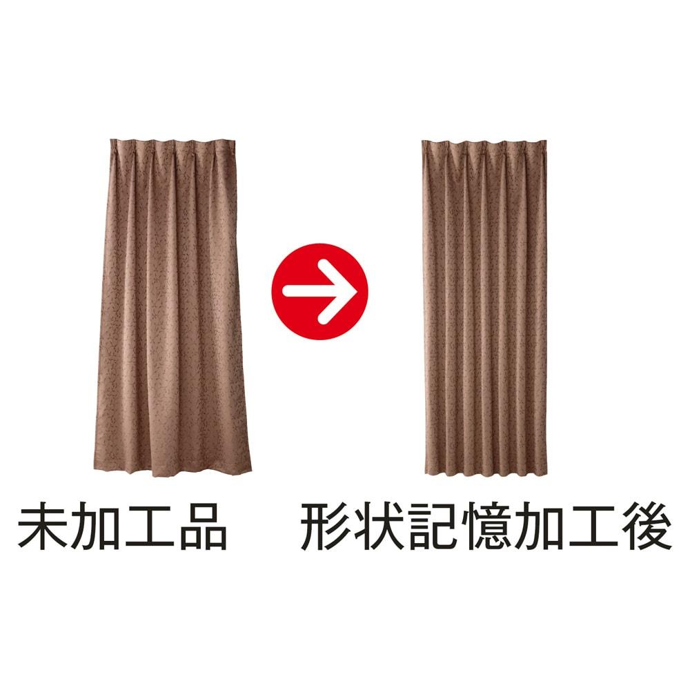 リーフ柄 形状記憶加工 多サイズ・多機能カーテン 幅100cm(2枚組) 開いても閉じても裾が広がりにくく美しいドレープを保つ形状記憶加工。レールに吊るすだけで美しく均一のウェーブが。加工時に薬品等を使用していないのも魅力。