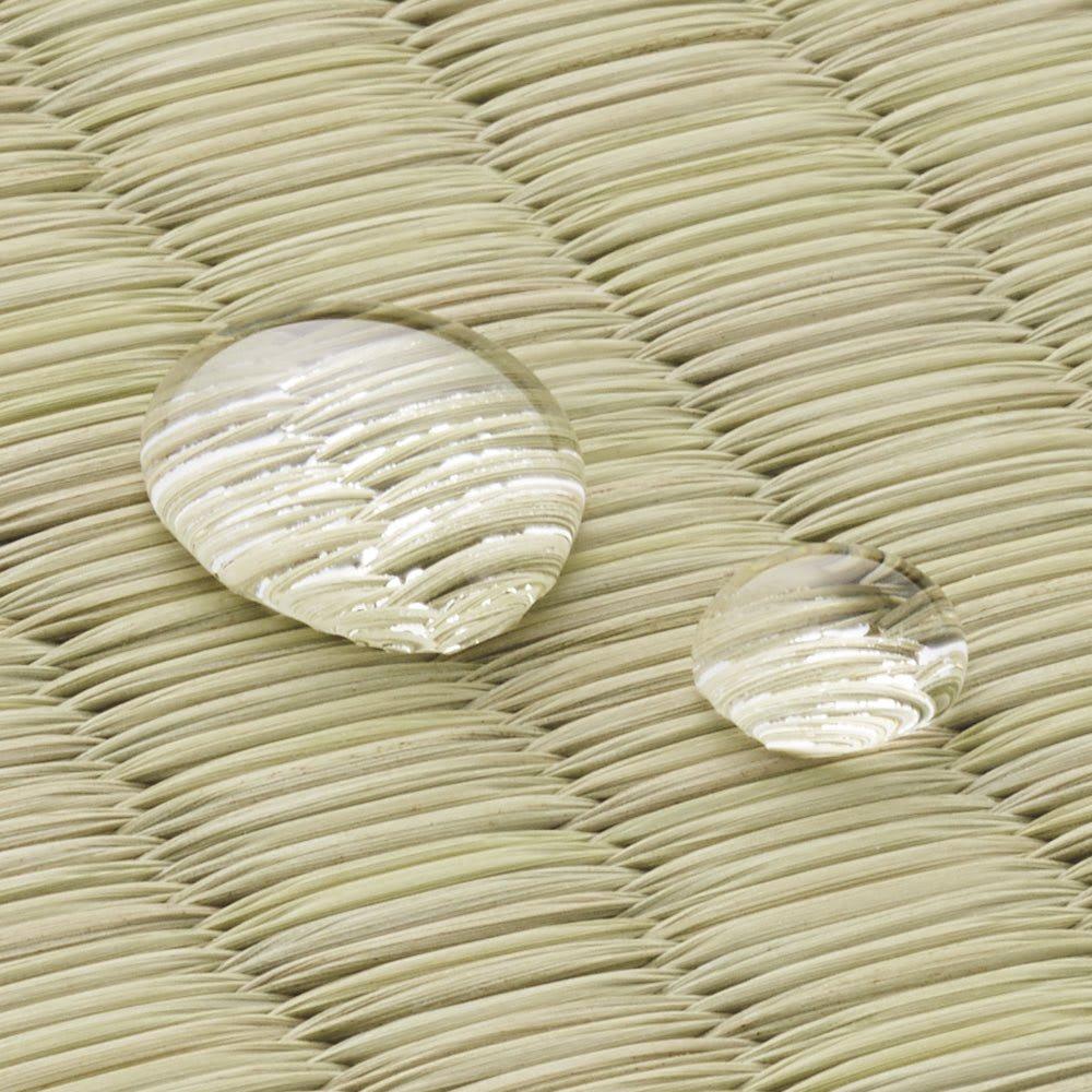 はっ水市松柄い草上敷き 団地間 【はっ水】 こぼしてもサッと拭き取れる、汚れに強いはっ水加工。