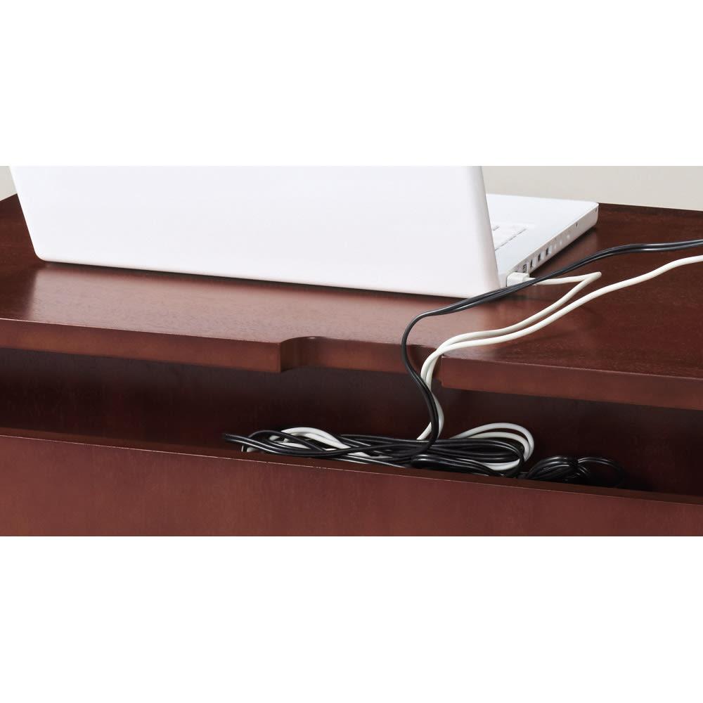 ベネチア調象がんシリーズ デスク 幅80cm デスクの背面部に配線よけカットと、コード収納部を設けました。