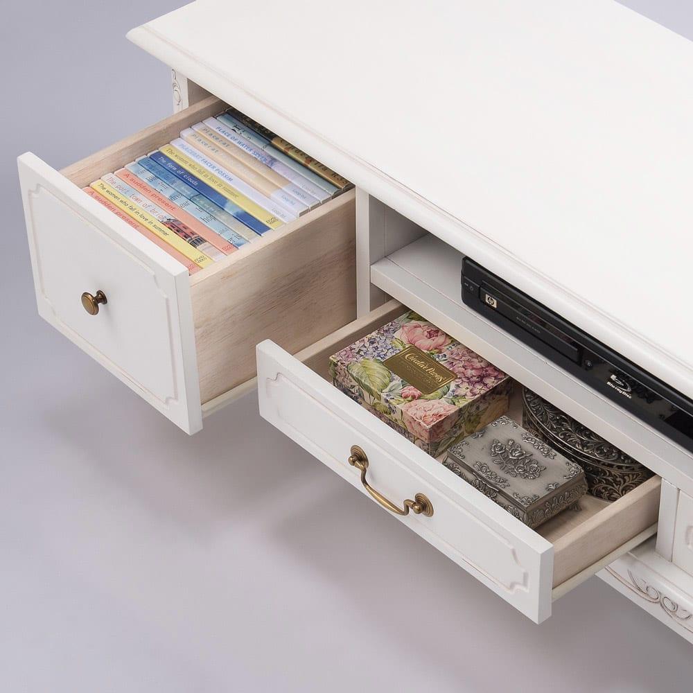 アンティーク調クラシック家具シリーズ テレビ台・幅150cm DVDや説明書などの収納に便利な引き出し付きです。