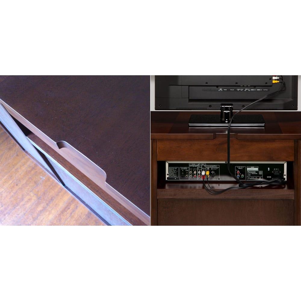 クラシカルロイヤル ケントハウスシリーズ サイドボード 背面は放熱性を考えオープンになっているので、テレビやデッキの配線もラクラク。