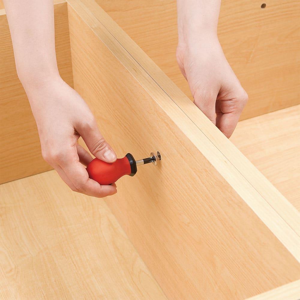 ユニット畳シリーズ 半畳 高さ45cm 横連結用のボルトでしっかりと横連結の固定ができます。