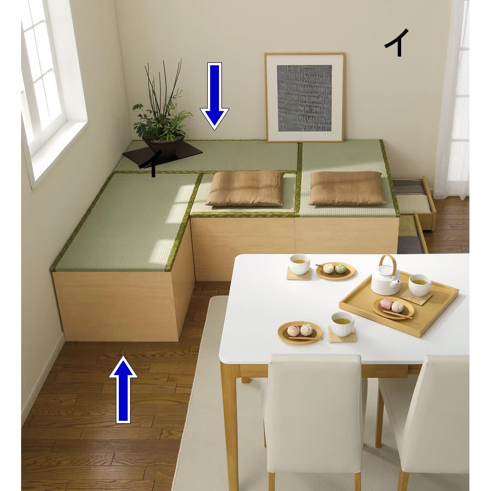 ユニット畳シリーズ 1畳 高さ45cm リビングダイニングに気軽に和の空間を演出できます。 【3.5畳の組み合わせ…半畳・1畳×3】